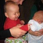 Hehe - he's so little.  Wake up, Trevor!!!